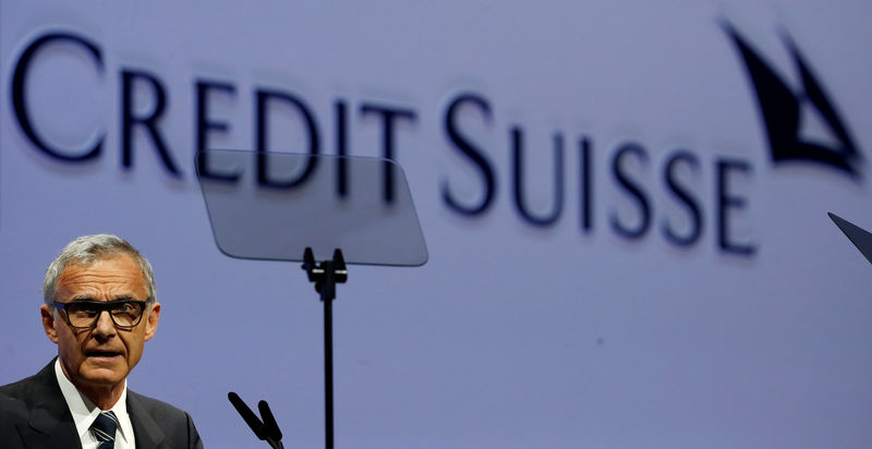 © Reuters. FILE PHOTO:  Chairman Rohner of Swiss bank Credit Suisse addresses annual shareholder meeting in Zurich