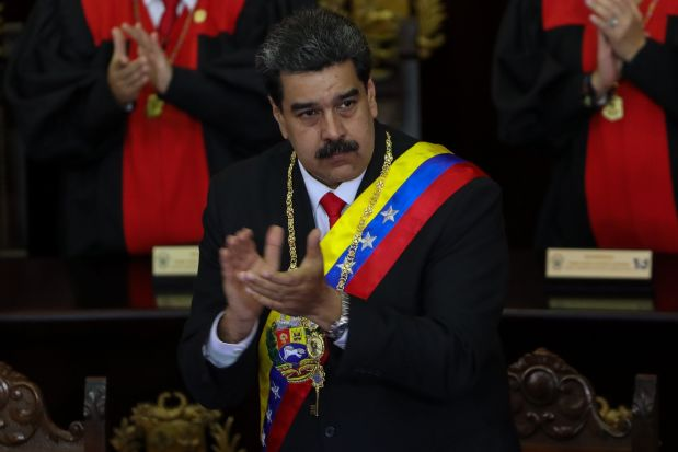 Venezuelan President Nicolás Maduro arrives at the opening ceremony of the judicial year in Caracas, Venezuela, Jan. 24.