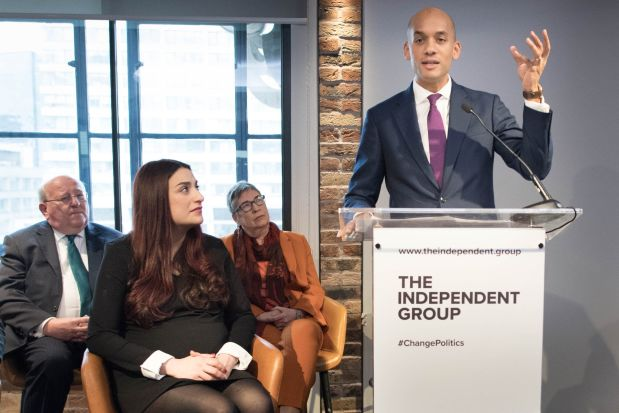 Labour MP Chuka Umunna who has announced his resignation during a press conference at County Hall in Westminster, London, along with a group of six other Labour MPs, Luciana Berger, Mike Gapes, Angela Smith, Chris Leslie, Ann Coffey and Gavin Shuker, who will be known as the Independent Group.
