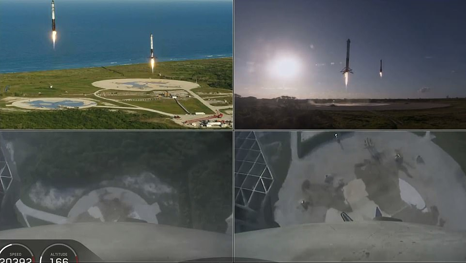 The two side boosters can be seen during their synchronized descent to the landing pads back on Earth after the successful launch