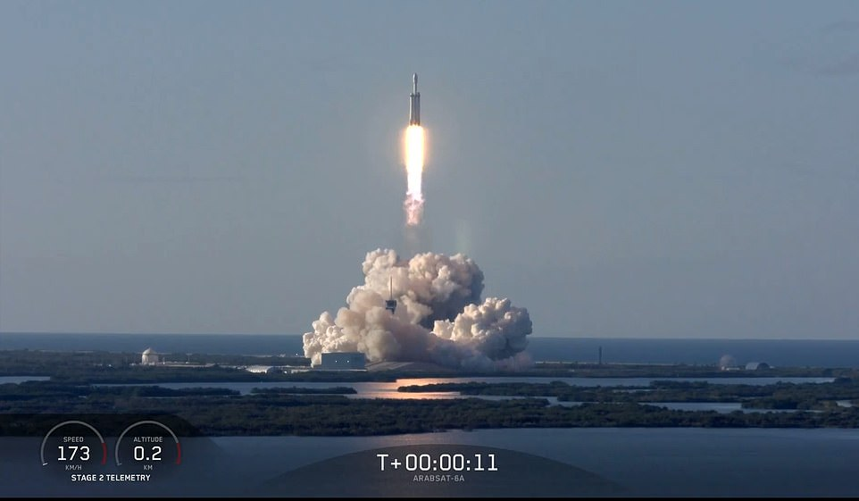 Falcon Heavy rocket is headed back to space for the second time after a successful liftoff from Kennedy Space Center. It's been fourteen months since its maiden launch, when it blasted off to become the most powerful rocket in use today