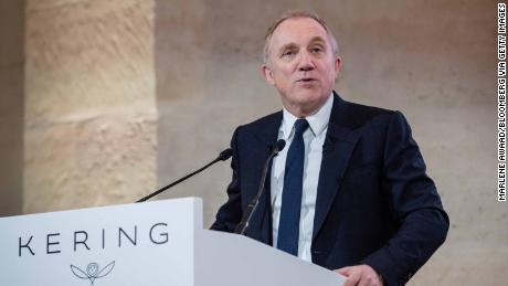 Francois-Henri Pinault, CEO of Kering, speaks during a news conference.