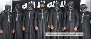 A still from a video released by Isis said to be of Sunday's attackers.