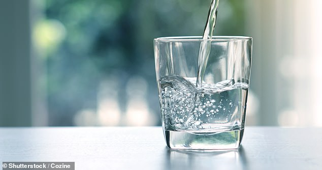 Adults should aim to drink two litres of water (stock image) per day – preferably on top of other drinks