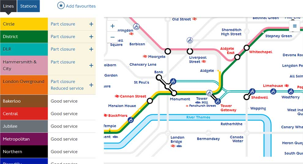 Get programmatic access to London Tube, Overground, TfL Rail, DLR & Tram status updates via this API