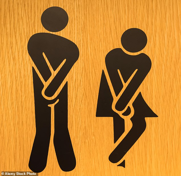 An overgrown prostate can press into the bladder – leading to urgency – but also blocks the urethra, the tube through which it empties (stock image of man and woman holding in their urine)
