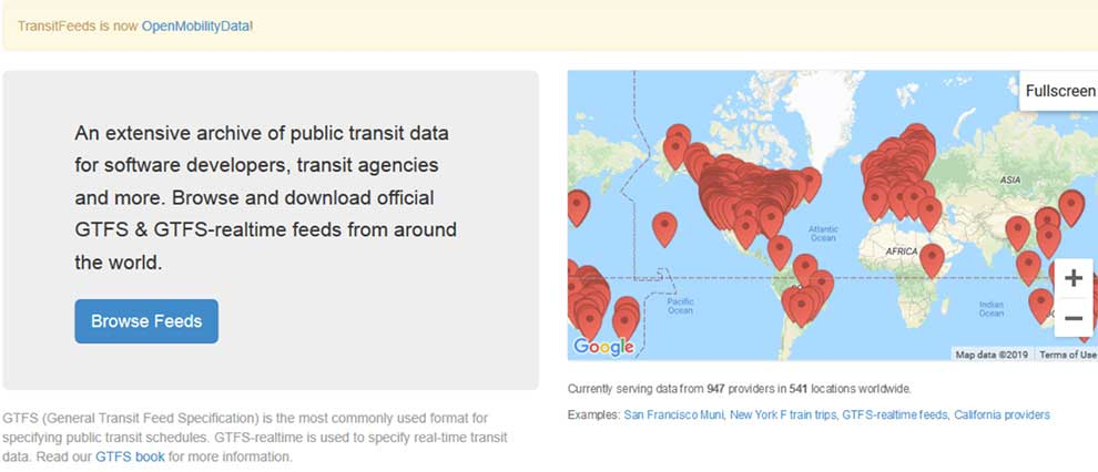 Get feeds from thousands of transport agencies around the globe with this API