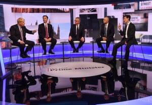 boris johnson, jeremy hunt, michael gove, sajid javid and rory stewart taking part in a bbc tv debate