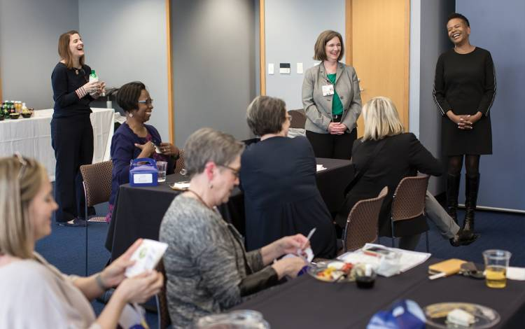 WeLEAD, a Duke Health affinity group that connects women executives, meets for a self-care event at Duke Integrative Medicine.