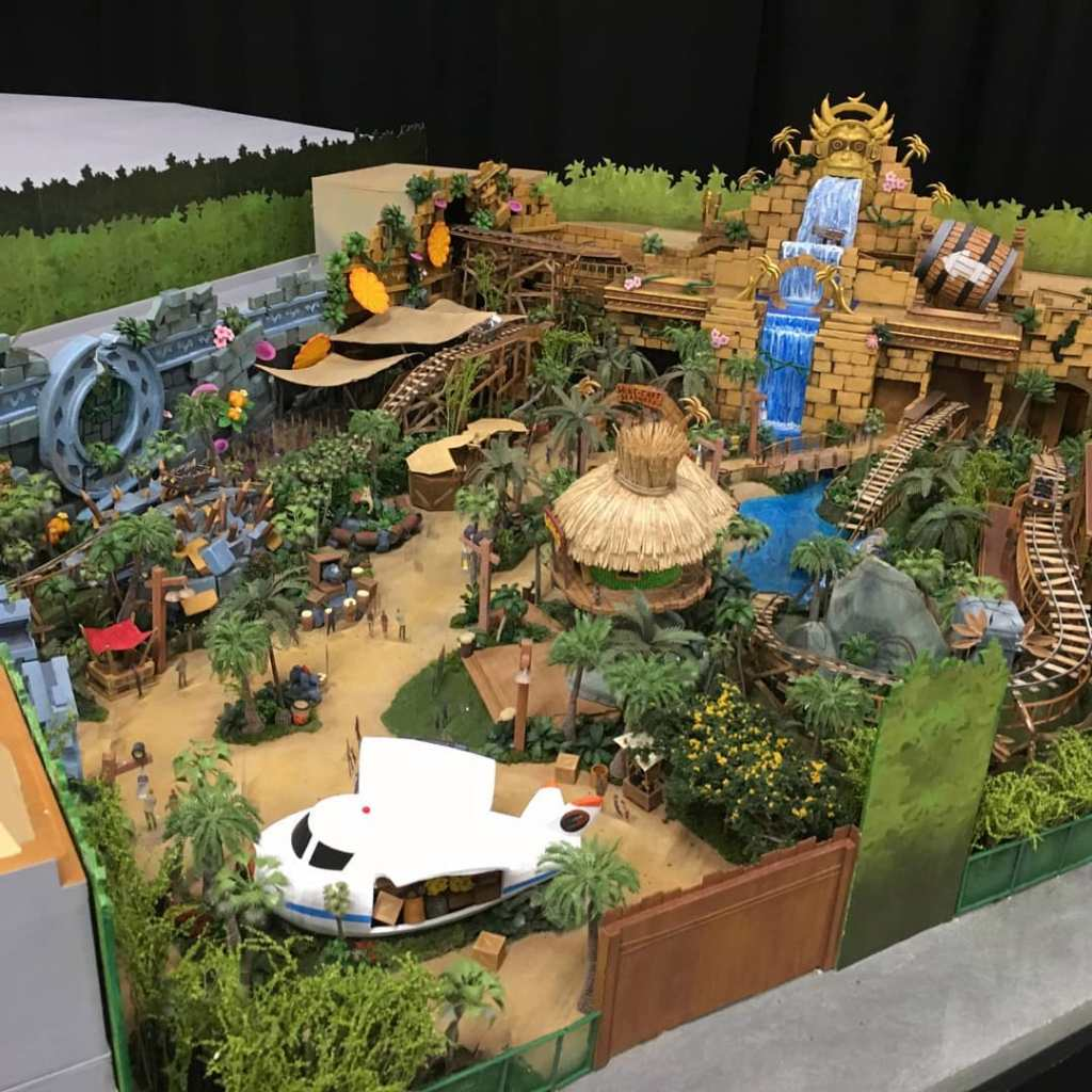 A model of the Donkey Kong Country section of Super Nintendo World.