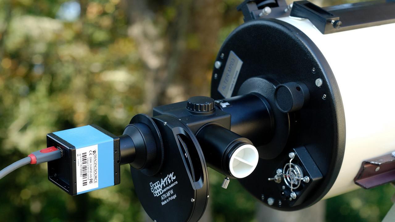 The setup for webcam astrophotogrphy.