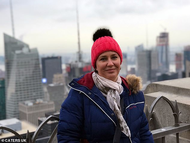 Mrs Crawford, from Wigan, Greater Manchester, never expected to be diagnosed with cancer after alleging her doctors told her she was too young to get it. Pictured in New York