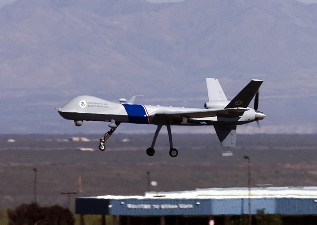 SIERRA VISTA, AZ - OCTOBER 30:  The new MQ-9 Predator B, an unmanned surveillance aircraft system, unveiled by the U.S. Customs and Border Protection (CBP), takes off at Libby Army Airfield at Ft. Huachuca October 30, 2006 in Sierra Vista, Arizona. CBP will use the new MQ-9 Predator aircraft to patrol the southern border of the United States in order to stop the illegal entry of thousands of Mexican nationals and drug runners who use the vast expanses of the Sonoran desert to cross into southern Arizona, daily. The new unarmed plane flew briefly for the press to show off its surveillance  capabilities by pilots of the contractor, General Atomics Aeronautical Systems. Agents of CBP will start training on the use of the aircraft very soon. The Predator will start full scale flight operations along the Mexico-Arizona border today.  (Photo by Gary Williams/Getty Images)