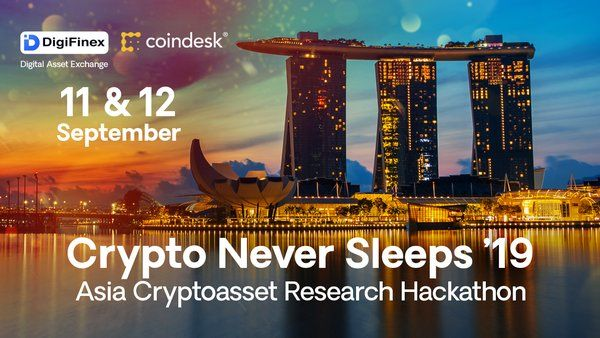 Crypto Never Sleeps event poster by DigiFinex and CoinDesk