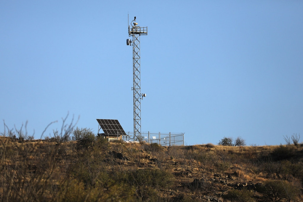 ARIVACA, AZ - NOVEMBER 15:  A U.S. Border Patrol surveillance camera overlooks a remote area of the U.S.-Mexico border on November 15, 2016 near Arivaca, Arizona. Nearby, armed civilian paramilitaries with Arizona Border Recon, made up mostly of former U.S. military servicemen and women, staged a reconnaissance and surveillance operation against drug and human smugglers. The group, which claims up to 200 volunteers, does not consider itself a militia, but rather a group of citizens supplementing U.S. Border Patrol efforts to control illegal border activity. With the election of Donald Trump as President, border security issues are a top national issue for the incoming Administration.  (Photo by John Moore/Getty Images)