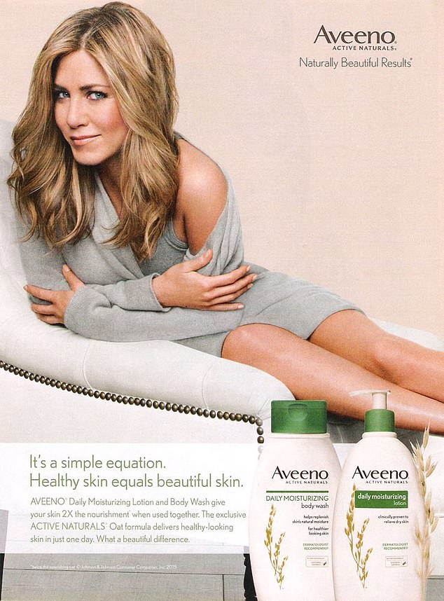 The NHS has tripled its spending on Aveeno shampoos, which are advertised by Friends star Jennifer Aniston (pictured), over the past five years. The moisturisers pictured are not included in the £2million figures because doctors may be allowed to prescribe them in some circumstances