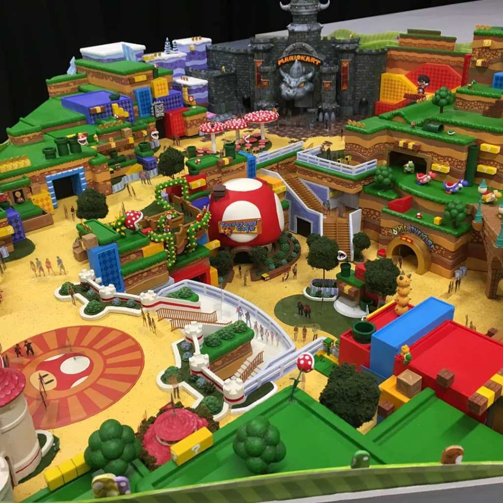 A model of Super Nintendo World.