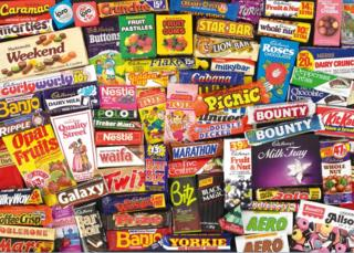 Montage of sweets from the 1980s