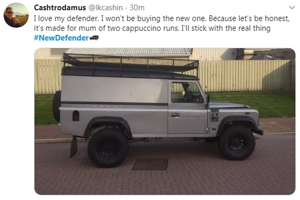 Another proud owner posted this picture of his rugged classic Defender, saying the new variant was designed for mothers off to get a coffee