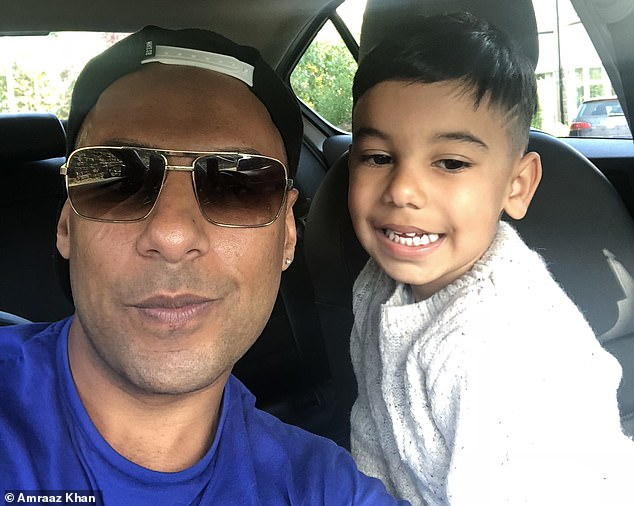 Haris Khan, 7, (right), went in to school in tears today his father Amraaz (left) said, after he learned their Thomas Cook holiday in Turkey, for which he has been saving up his pocket money for months, could be cancelled if the company goes bust