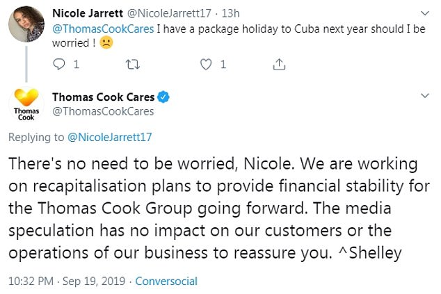 Thomas Cook attempted to play down talk of holidaymakers losing their trips abroad, with some told there was 'no need to be worried' (shown above)