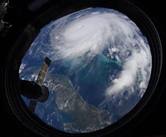 Hurricane Dorian seen from the ISS (Christina Koch/Twitter)