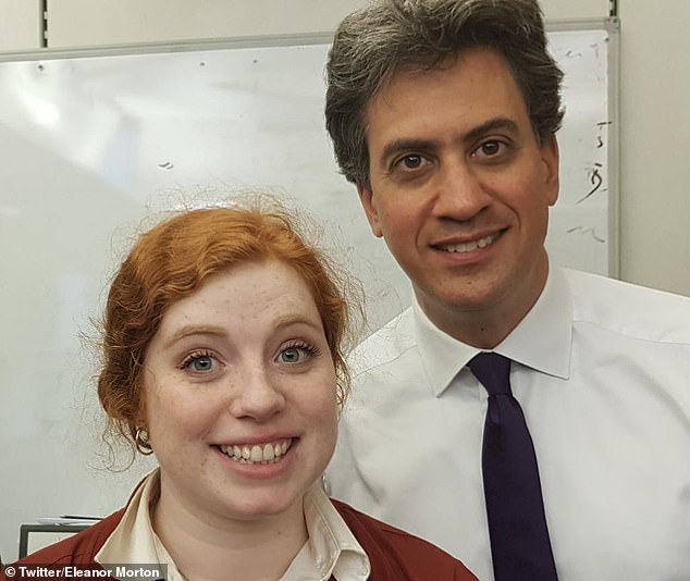 """Stand-up comedian Eleanor Morton, pictured here with MP Ed Milliband, also dismissed the research. 'It's just another boring """"study"""" that claims women don't NEED to be funny to find a mate so we're not. Nothing new,' she tweeted"""