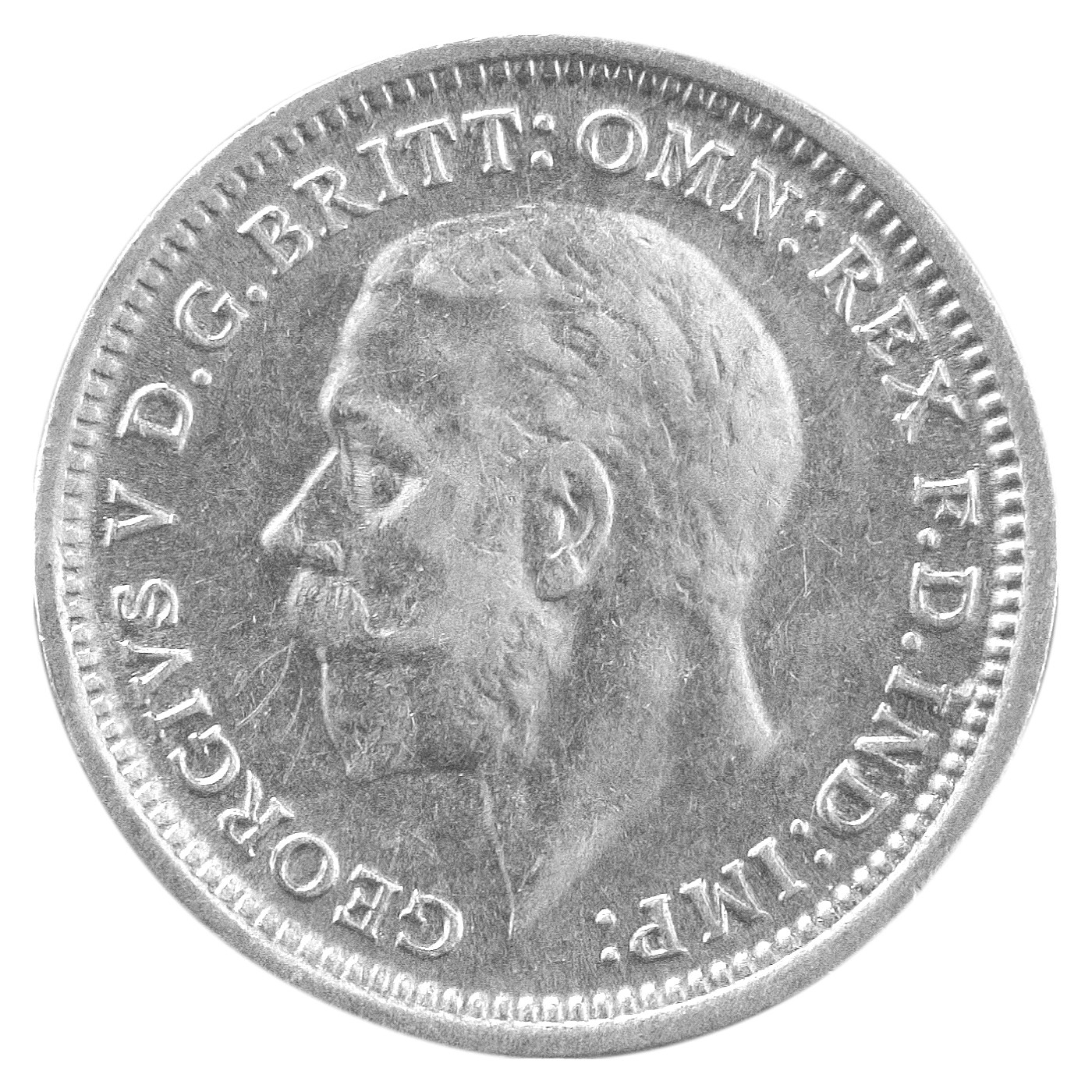 The coins were minted during King George V's reign between 1910 and 1936