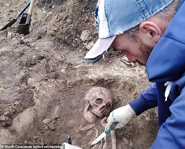 It is thought the woman could have been the wife of a renowned warrior or tribal chief. The team are examining her remains and others at the Zayukovo-2 burial site in the Russian republic of Kabardino-Balkaria