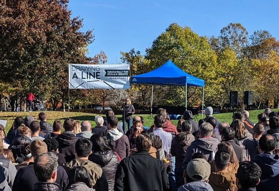 Over 200 tech workers from Tableau staged a rally outside of company headquarters in Seattle on October 2019.