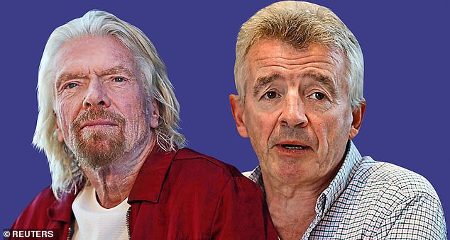 Bailout anger: Richard Branson (left) and Ryanair's boss Michael O'Leary