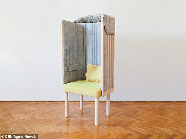 'Studies show that an average user unlocks the phone 110 times per day, and record-breakers even 900!' said Ms Nowak, who began work on the offline chair in 2015, while studying Furniture Design at the University of Fine Arts in Poznan, Poland