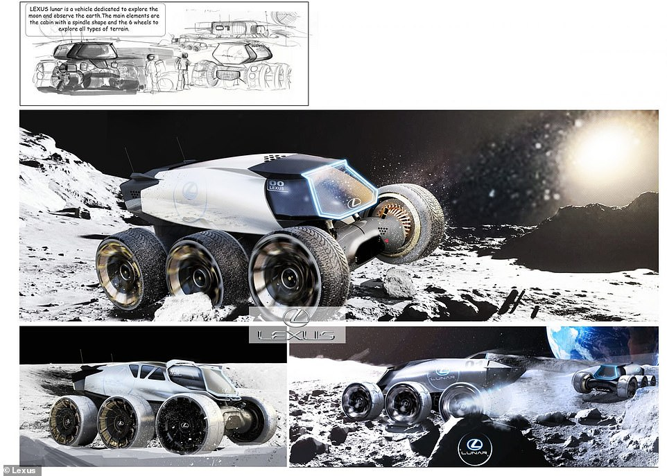 The Lexus Lunar (pictured above) is a kind of SUV designed for outer space, with a rugged six-wheel design and a separate campter-style living quarters that can be separated from the vehicle to form an outpost or temporary settlement