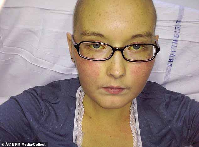 Ms Cartwright had a liver transplant when her liver failed. Her skin turned yellow with jaundice (pictured) as she was in desperate need of a new liver