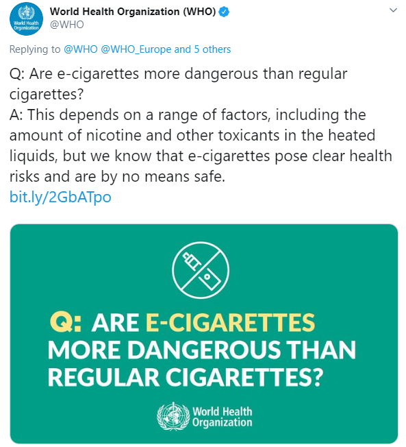 The organisation refused to say whether vaping was less harmful than cigarettes during the Q&A