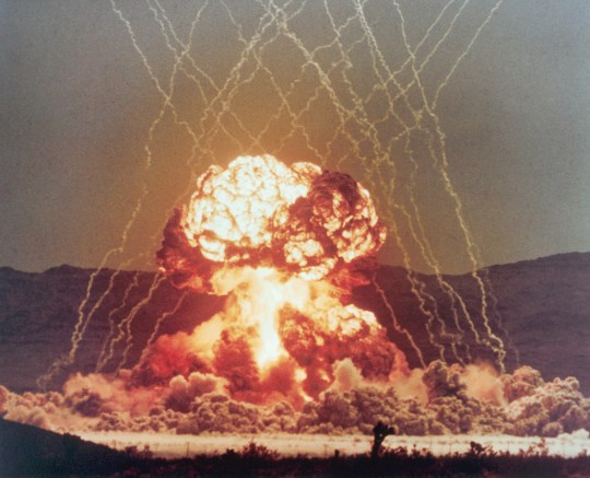Nuclear Explosion MET in Nevada Desert (Photo by ?? CORBIS/Corbis via Getty Images)