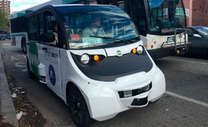 A Little Roady vehicle operates in Providence, R.I., in May 2019.