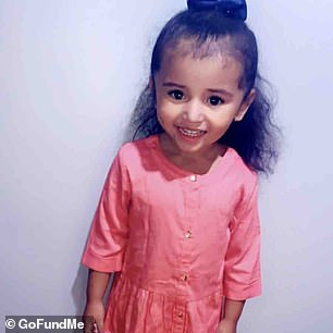 Aliyah Cardoza, three (pictured), of Azusa, California, has been hospitalized for more than a month with the NL63 strain of the coronavirus