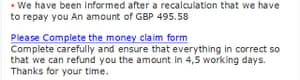 Scam email poor wording