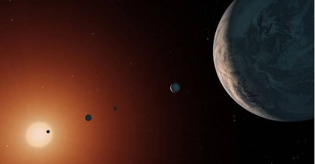 This illustration shows what the TRAPPIST-1 system might look like from a vantage point near planet ...