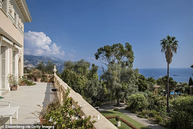 The Mediterranean is seen from the bedroom terrace of the Villa Les Cedres. Tycoon Rinat Akhmetov confirmed he bought the historic villa