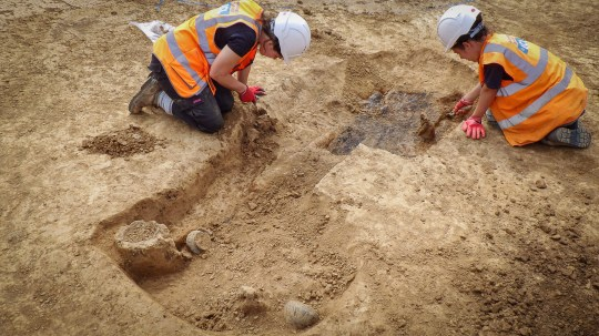 "Embargoed to 0001 Wednesday January 29 Undated UCL handout photo of the excavation of the grave of a 2,000 year-old Iron Age ""warrior"" which was unearthed by archaeologists in West Sussex. PA Photo. Issue date: Wednesday January 29, 2020. The recently-revealed burial site, one of only a handful known in the south of England, featured an iron spear and a sword in a highly decorated scabbard. See PA story HERITAGE Iron. Photo credit should read: UCL/PA Wire NOTE TO EDITORS: This handout photo may only be used in for editorial reporting purposes for the contemporaneous illustration of events, things or the people in the image or facts mentioned in the caption. Reuse of the picture may require further permission from the copyright holder."