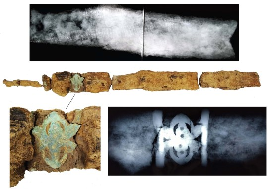 "Embargoed to 0001 Wednesday January 29 Undated UCL handout photo of the sword which was unearthed during the excavation of the grave of a 2,000 year-old Iron Age ""warrior"" by archaeologists in West Sussex. PA Photo. Issue date: Wednesday January 29, 2020. The recently-revealed burial site, one of only a handful known in the south of England, featured an iron spear and a sword in a highly decorated scabbard. See PA story HERITAGE Iron. Photo credit should read: UCL/PA Wire NOTE TO EDITORS: This handout photo may only be used in for editorial reporting purposes for the contemporaneous illustration of events, things or the people in the image or facts mentioned in the caption. Reuse of the picture may require further permission from the copyright holder."