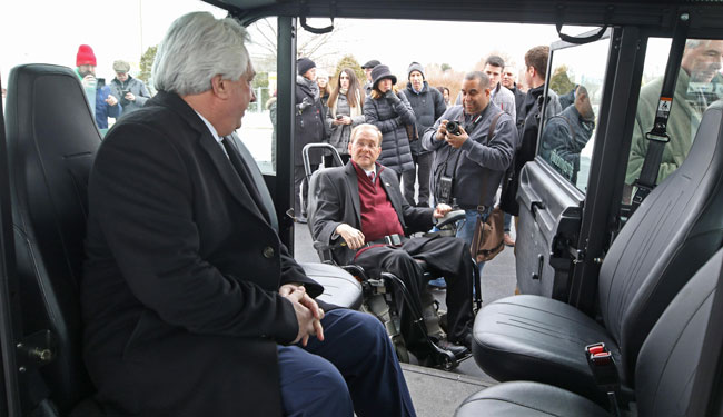 Peter Alviti Jr., director of Rhode Island's DOT, sits in the new May Mobility autonomous vehicle during a launch event in Providence, R.I., in February 2019.