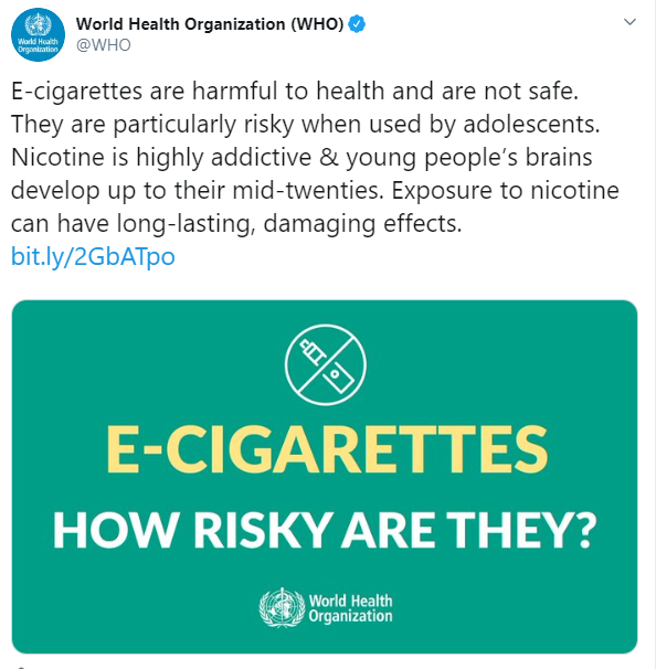 The World Health Organisation has issued its strongest warning to date about e-cigarettes, claiming they are not safe