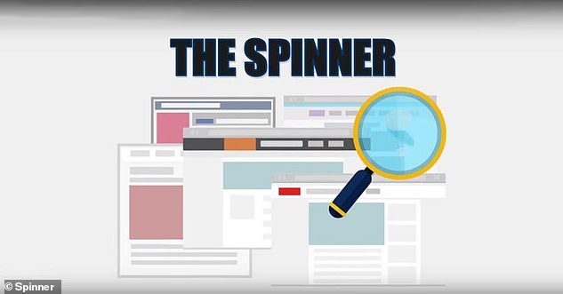 Spinner (pictured) claims to be able to 'subconsciously influence' a person's thinking by bombarding them with misleading posts disguised as unbiased editorial content