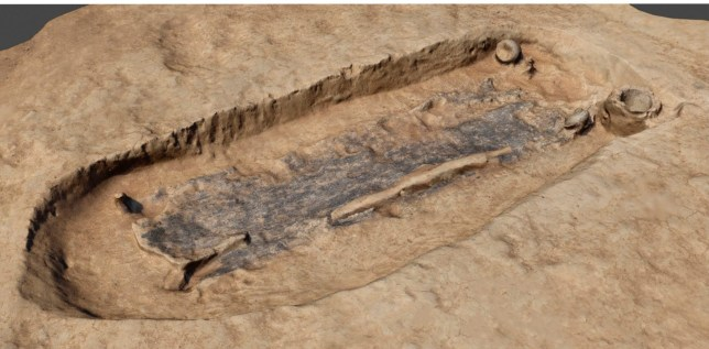 "Embargoed to 0001 Wednesday January 29 Undated UCL handout image of a 3D model of the grave of a 2,000 year-old Iron Age ""warrior"" which was unearthed by archaeologists in West Sussex. PA Photo. Issue date: Wednesday January 29, 2020. The recently-revealed burial site, one of only a handful known in the south of England, featured an iron spear and a sword in a highly decorated scabbard. See PA story HERITAGE Iron. Photo credit should read: UCL/PA Wire NOTE TO EDITORS: This handout photo may only be used in for editorial reporting purposes for the contemporaneous illustration of events, things or the people in the image or facts mentioned in the caption. Reuse of the picture may require further permission from the copyright holder."