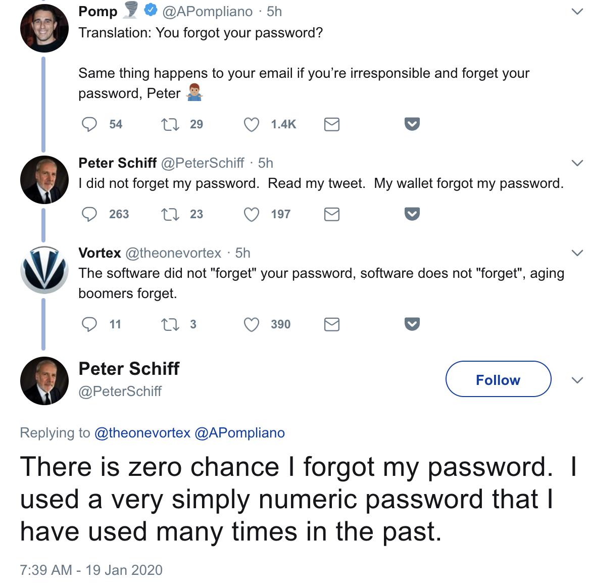 Peter Schiff Forgets Bitcoin Wallet Password, Blames Bitcoin