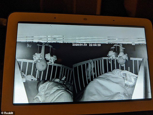 Pictures posted by a Reddit user show how other users' cameras mysteriously showed up in a feed being streamed to a Google Hub smart display. In the above picture a small child can be seen resting in a crib