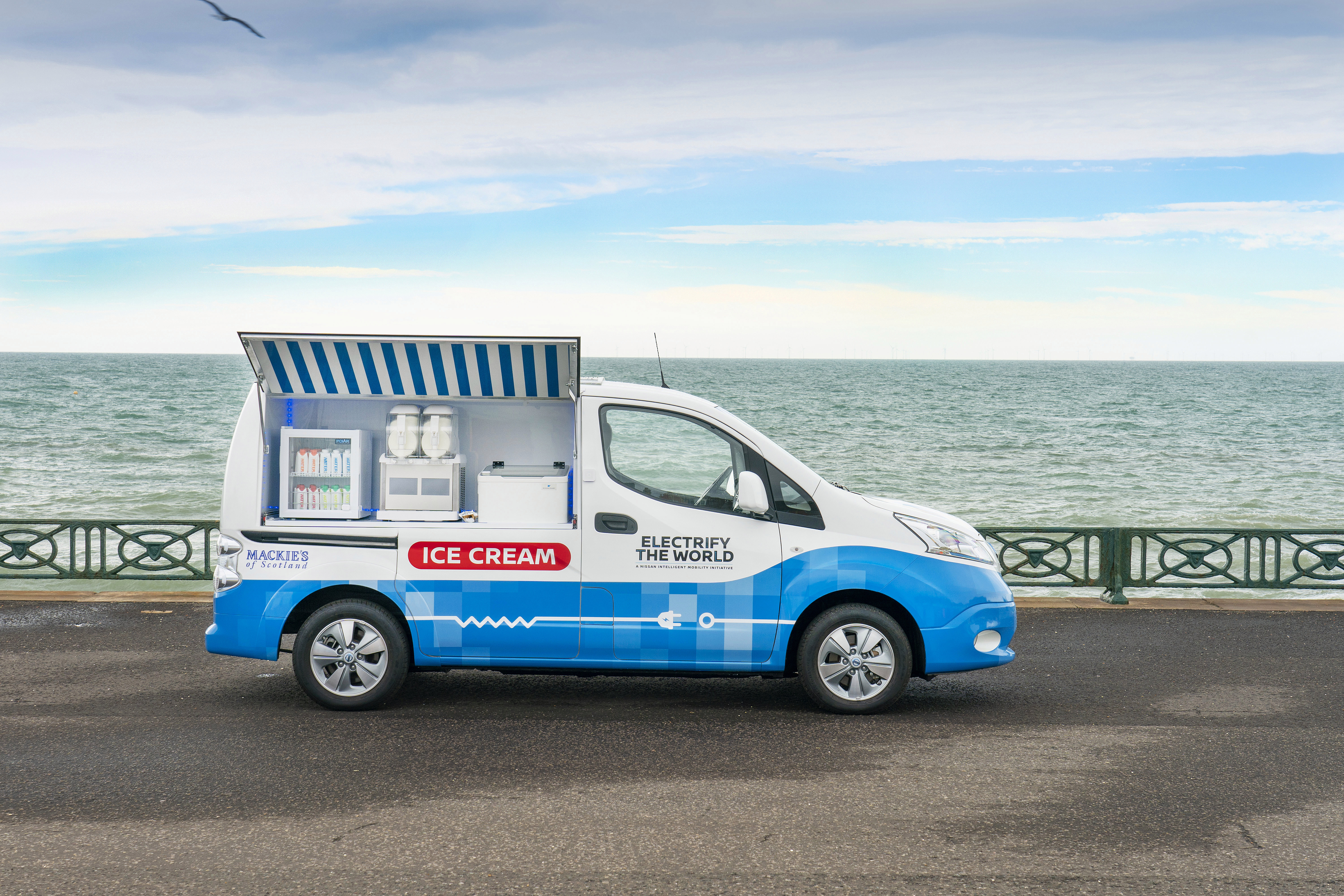 Nissan created an electric ice cream van, complete with a fridge, freezer, solar panels and soft-serve machine